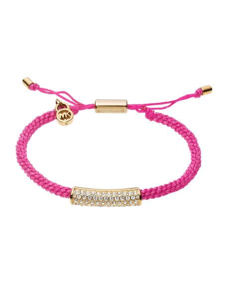 Macrame Cord Pave Bracelet, Pink/Golden