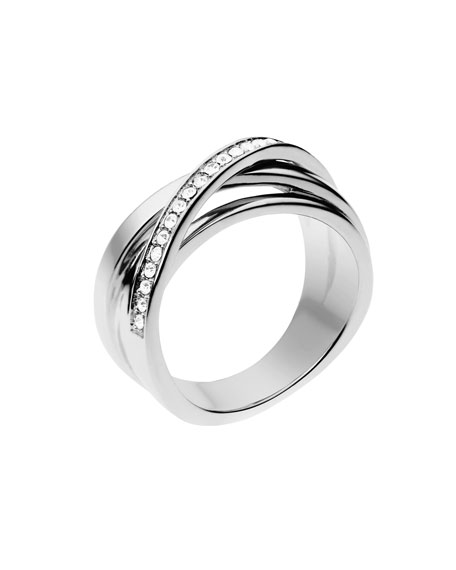 Pave Interwoven Ring, Silver Color
