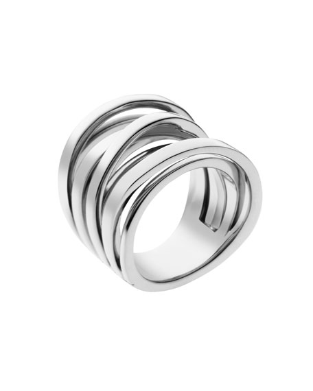 Large Interwoven Ring, Silver Color