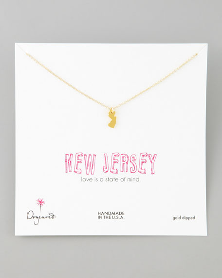 Gold New Jersey State Charm Necklace