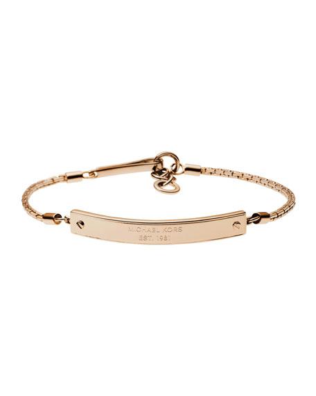 Logo-Plate Bracelet, Rose Golden