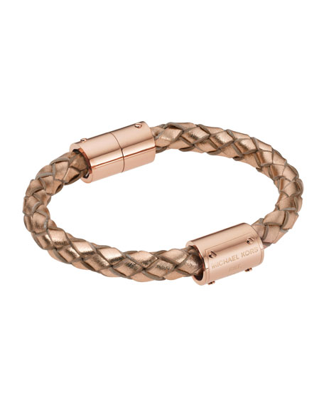 Metallic Braided-Leather Bracelet, Rose Golden