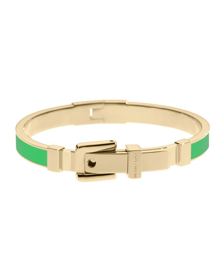 Buckle Enamel Bracelet, Palm Green