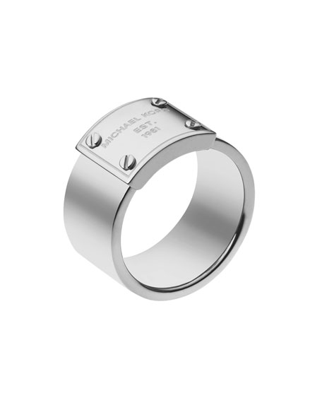 Logo-Plate Ring, Silver Color
