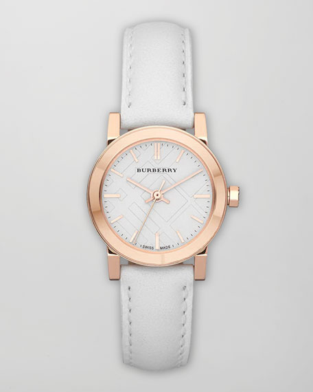 Rose Golden Watch with Leather Strap, 26mm