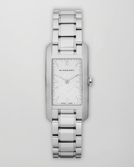 Check Dial Rectangle Watch, Steel/White