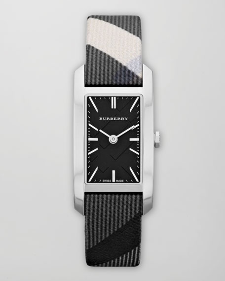 Beat Rectangle Watch with Check Strap