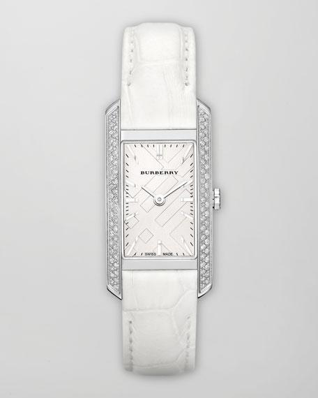 Stainless Steel Diamond Watch & White Alligator Strap, 20mm