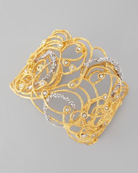 Mauritius Golden Rhodium Crystal Cuff