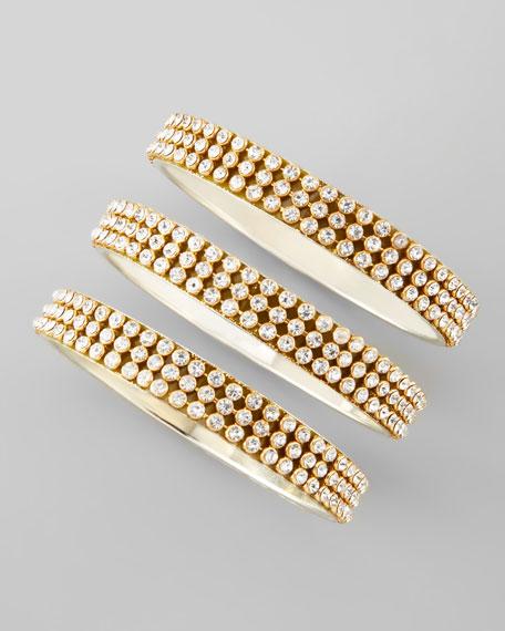 Set of 3 Crystal-Rows Bangles