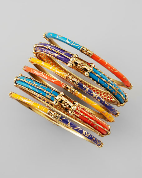 Set of 6 Bead-Trimmed Resin Bangles, Red/Blue/Orange