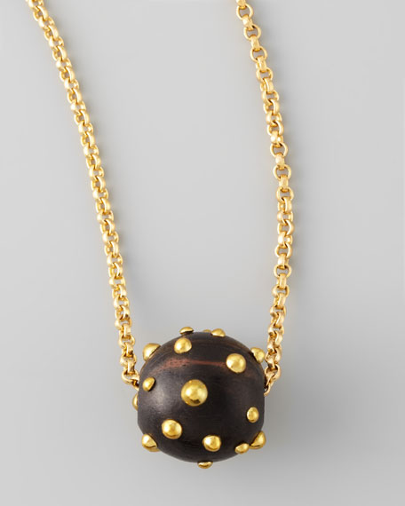 On a Roll Studded Ball Pendant Necklace, Small