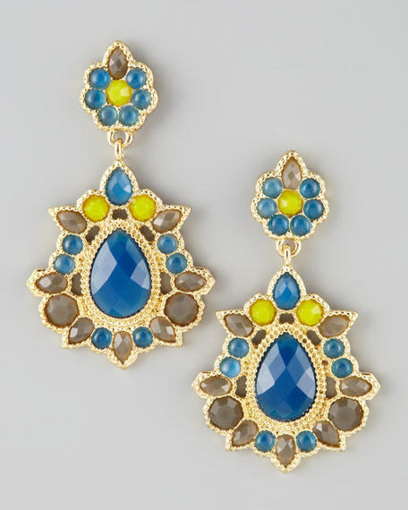 Crystal Drop Earrings, Blue/Green/Brown