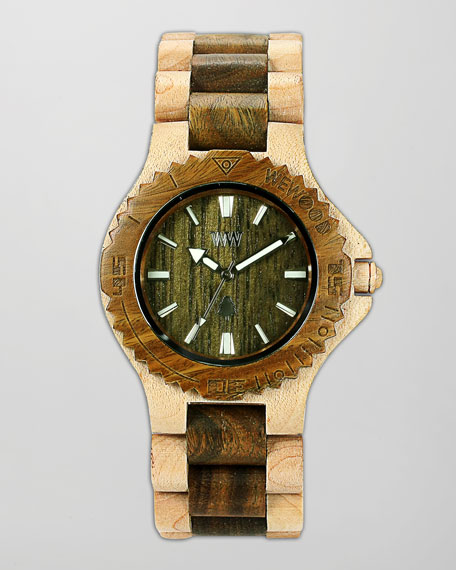 Date Maple & Guaiaco Wood Watch, Beige/Army Green