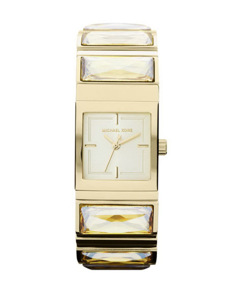 Mini-Size Golden Stainless Steel Erin Three-Hand Glitz Watch