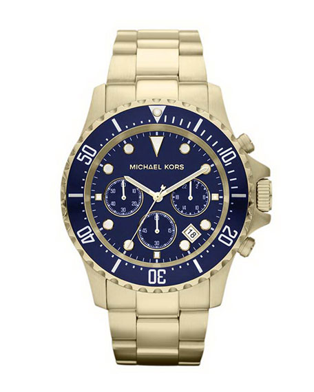 Navy Blue and Golden Stainless Steel Everest Chronograph Watch