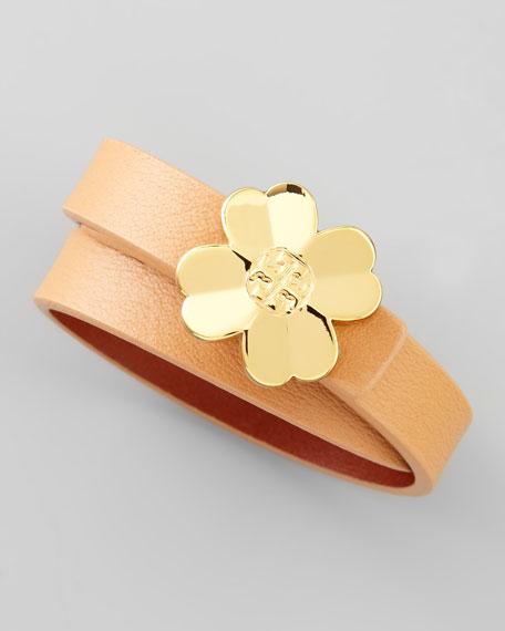 Shawn Floral-Logo Leather Wrap Bracelet, Nude