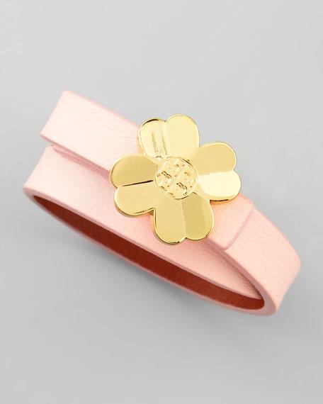 Shawn Floral-Logo Leather Wrap Bracelet, Pink