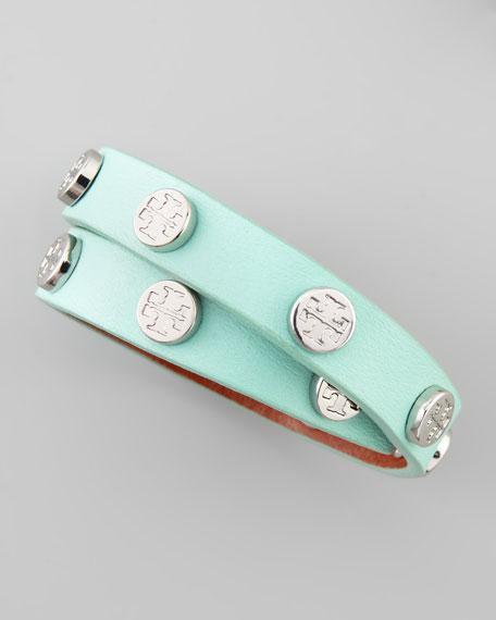 Logo-Studded Leather Wrap Bracelet, Mint