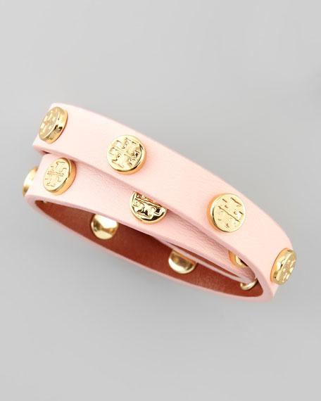 Logo-Studded Leather Wrap Bracelet, Pink