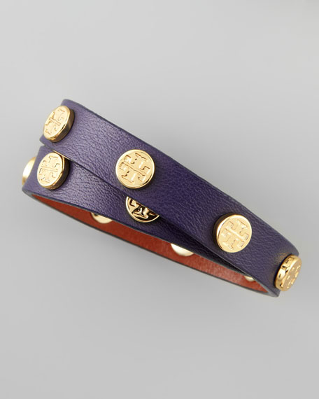 Logo-Studded Leather Wrap Bracelet, Parisian Blue
