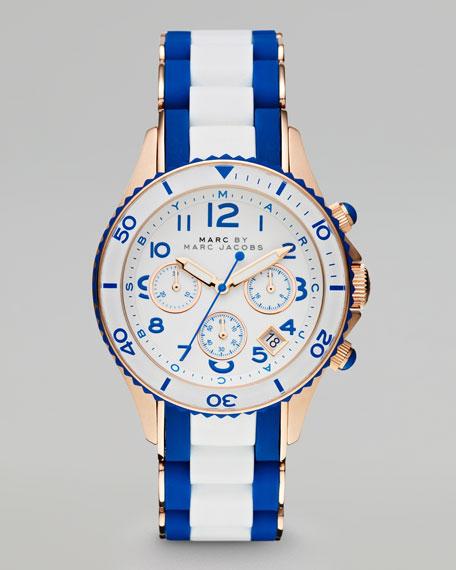 Rock Rose Golden Enamel Watch, White/Blue