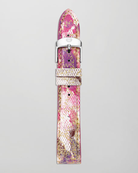 16mm Floral Patent Watch Strap, Pink