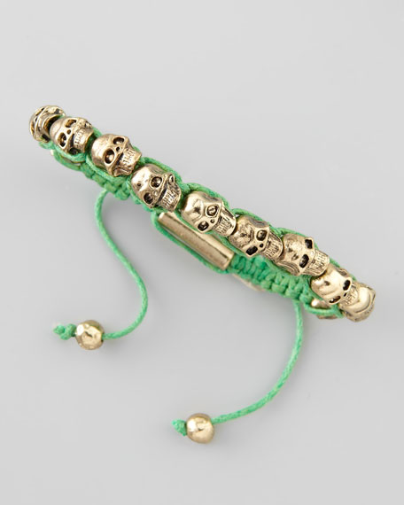 Mini Skull Wrap Bracelet, Green
