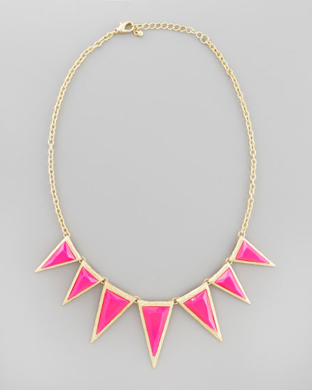 Triangle Spike Pendant Necklace, Hot Pink