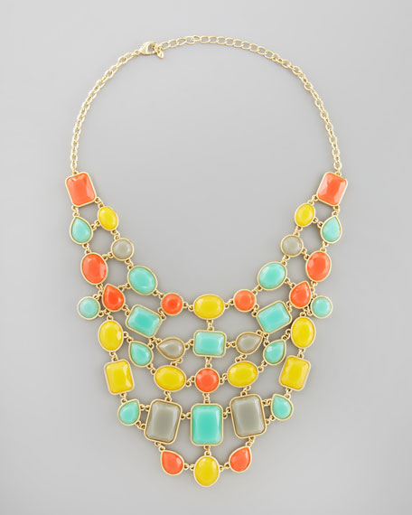 Tiered Resin Bauble Bib Necklace