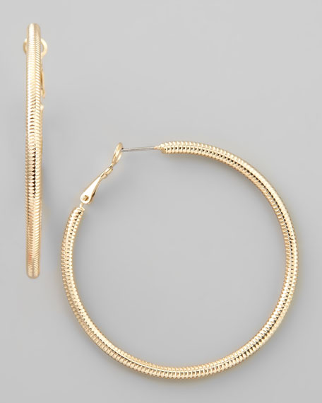 Textured Ridged Hoop Earrings, Gold