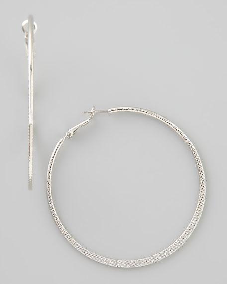 Textured Scored Hoop Earrings, Silver