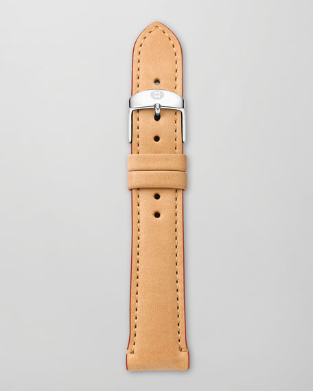 16mm Leather Watch Strap, Tan/Red