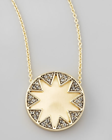 Crystal Sunburst Station Necklace, Matte Earth