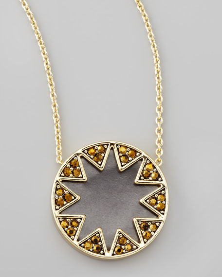 Crystal Sunburst Station Necklace, Matte Black