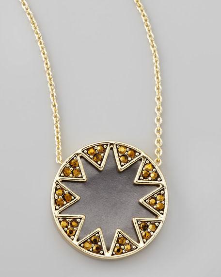Crystal Sunburst Station Necklace, Matte Black