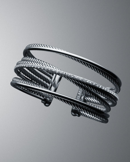 The Crossover Collection Cuff Bracelet, Diamonds, 4-Row
