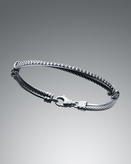 3mm Pave Diamond Crossover Bracelet