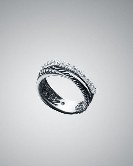 Small Pave Diamond Crossover Ring