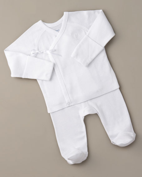 Two-Piece Footie Set, White