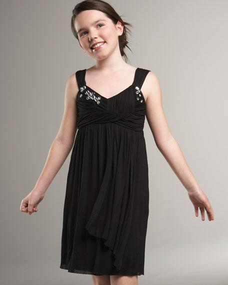 Shirred Jeweled-Bodice Dress