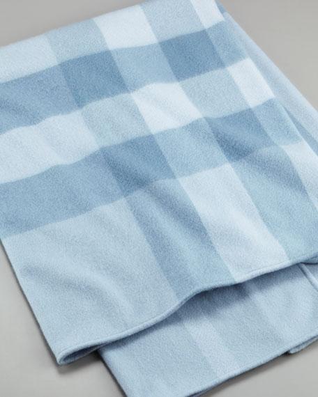 Exploded-Check Blanket, Porcelain Blue