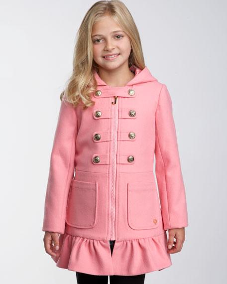 Ruffle-Hem Zip Military Coat