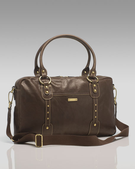Elizabeth Leather Diaper Bag, Chocolate