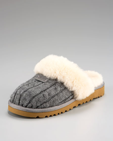 Cable-Knit Slipper, Heather Gray