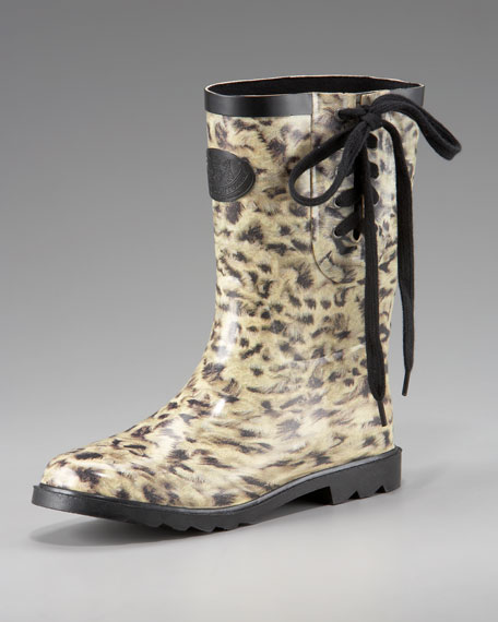 Leopard-Print Rain Boot