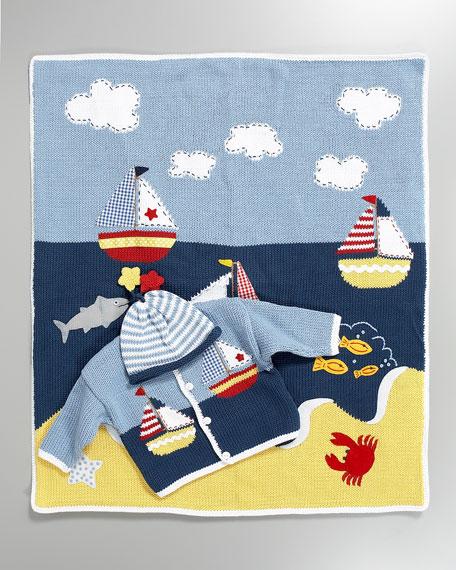Sailboats Stroller Blanket