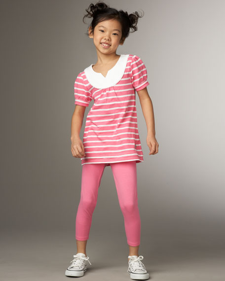 Striped Tunic and Legging Set, Pink Fizz