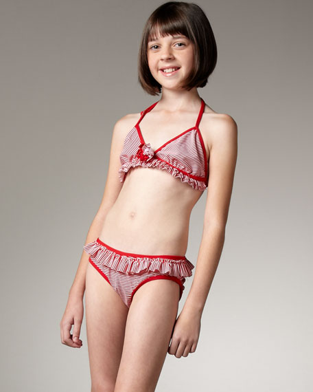 Striped Two-Piece Swimsuit, Sizes 7-16