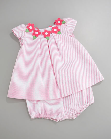 Floral-Applique Striped Dress, 3-9 Months